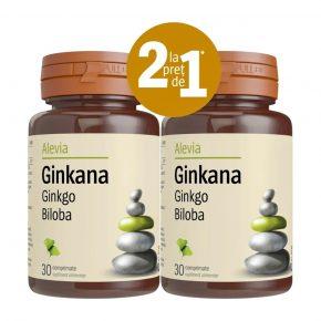 Pachet Ginkana Ginkgo biloba 40mg, Alevia, Supliment alimentar ce stimuleaza functiile psihice, concentrarea si memorarea, 30+30 comprimate