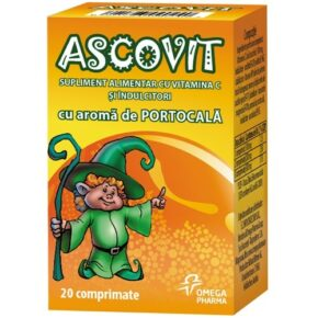 ASCOVIT cu Vitamina C aroma de portocala, 20 comprimate