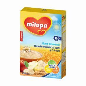 Milupa buna dimineata cereale crocante cu lapte si 3 fructe 250g 1