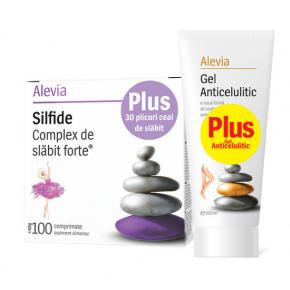 Pachet Alevia Silfide Complex pentru slabit, 100 comprimate+30 plicuri ceai si Gel Anticelulitic, 200ml