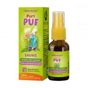 Spray cu Salvie Calmeaza Caile Respiratorii, Ingerasul PufyPuf Dacia Plant, recomandat pentru Ameliorarea Durerilor in Gat la Copiii Alergici la Propolis, 20 ml