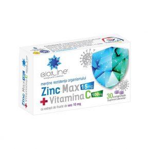 Zinc Max + Vitamina C 100mg, 30 comprimate
